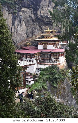 Tiger's Nest monastery in Bhutan Himalayas Buddhist church on cliff face