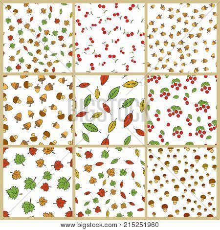 Autumn season nature elements seamless patterns big set. Colorful leaves, ripe berries, acorns and mushrooms flat vectors on white background. Fruits harvest, defoliation, forest food illustrations