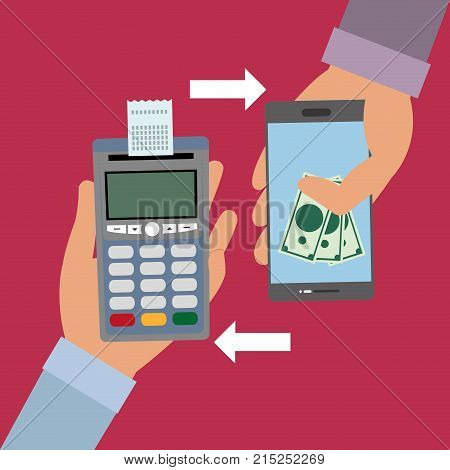 hand with dataphone with receipt and smartphone with bills over fuchsia background