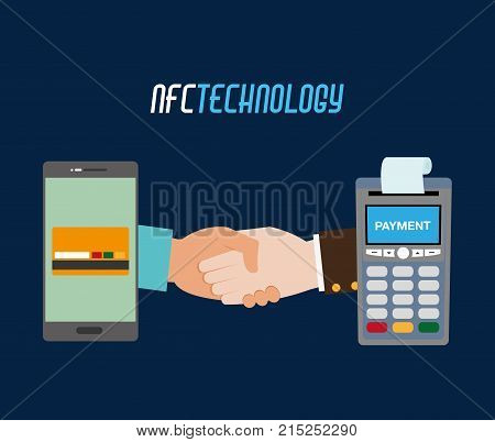 dataphone with receipt and smartphone with credit card vector illustration