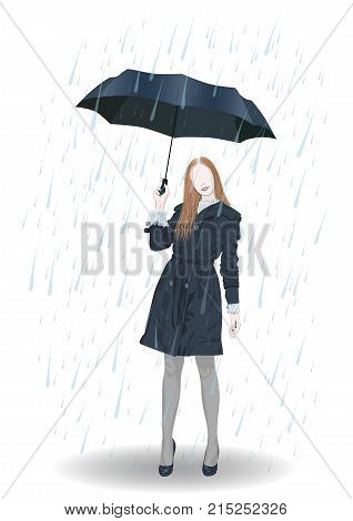 A girl in a short cloak with an umbrella is standing in the rain - vector