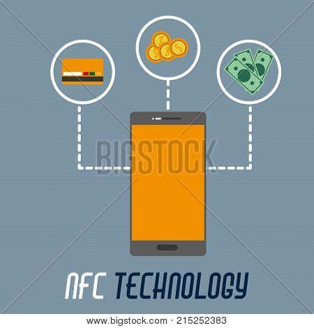 smartphone with credi card option to nfc payment vector illustration