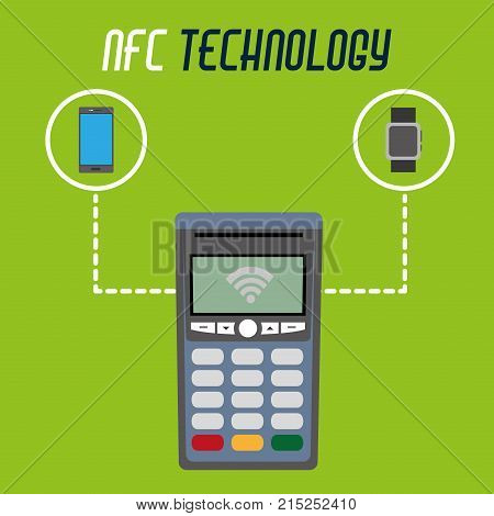 dataphone technology with smartphone and smartwatch technology with transaction payment vector illustration