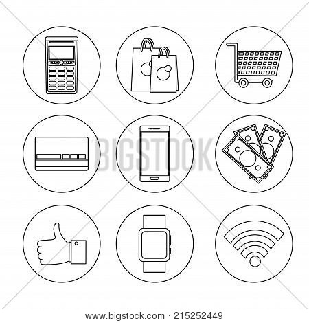 line set nfc technology with dataphone transaction to shopping vector illustration
