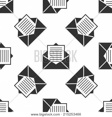 Mail and e-mail icon seamless pattern on white background. Envelope symbol e-mail. Email message sign. Flat design. Vector Illustration