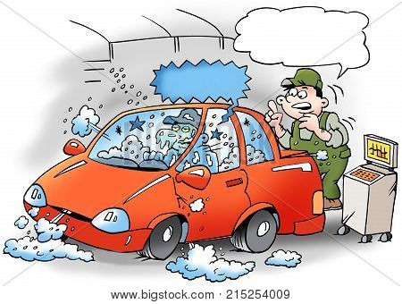 Cartoon illustration of a mechanics that tests the air conditioner in the car the mechanic is frozen