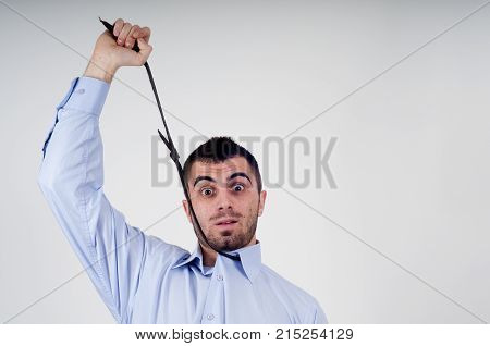 Angry business man expressing frustration portrait of young handsome businessman concept of executive yelling conversation problem communication crisisangerfrustration.Room for text