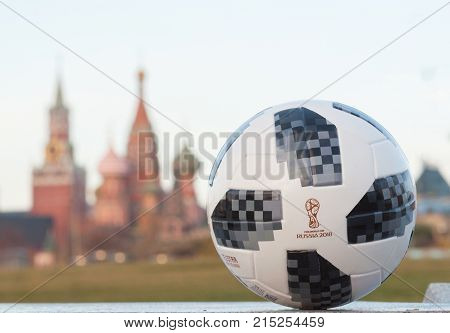 November 13 2017 Moscow Russia. The official ball of FIFA World Cup 2018 Adidas Telstar 18.