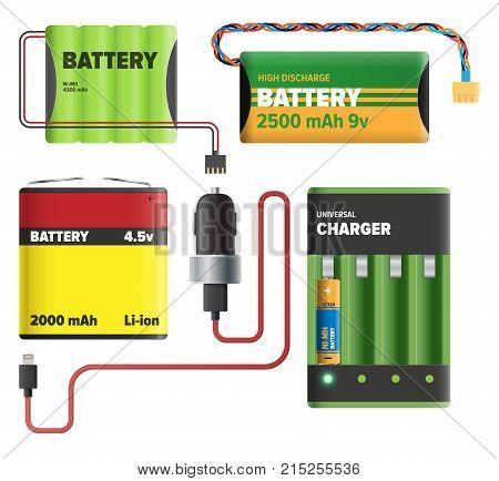 Powerful charging devices with big power capacity isolated on white background. Electric appliances to recharge energy for longer usage vector illustration. Power containers to restore devices.