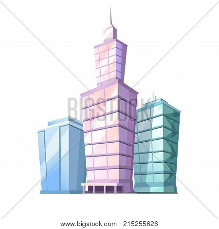 High cartoon skyscrapers isolated on white background. Urban glass multi storey buildings vector illustration. Business city center architecture. New-York Empire State Building as place of attraction.
