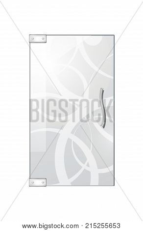 Glassy entrance door with wavy white lines and doorhandle on white background. Vector illustration of isolated transparent glass door with decorative elements in flat design.