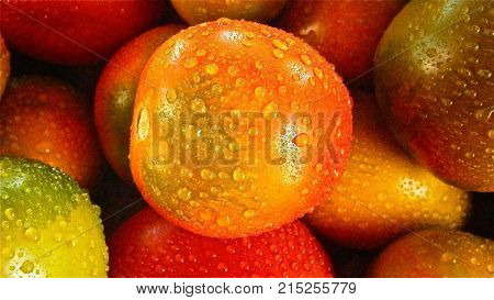 droop of a water on many fruit
