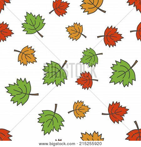 Colorful maple leaves seamless pattern. Different size green, red and orange falling leaves flat vector on white background. Autumn defoliation concept illustration for wrapping paper, print on fabric