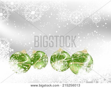 Green christmas background with balls and snowflakes