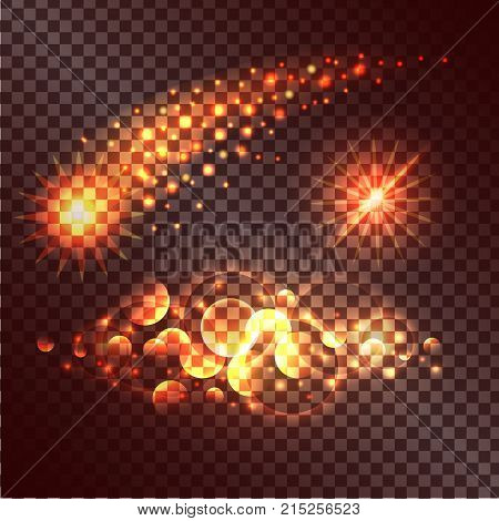 Concept of twinkle actions on transparent background. Vector illustration of fading star, multiplied circles and burning radiance.