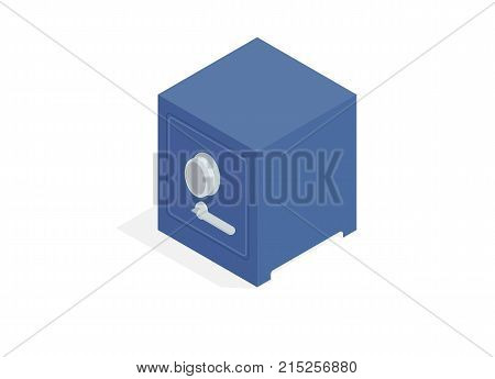 Square metal safe isometric projection icon. Massive steel storage with combination lock and handle isolated vector. Compact personal safe 3d illustration for savings or deposit protection concept