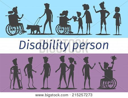 Disability people on wheelchairs, blind man with dog, sportsmen with prostheses and woman with cane silhouettes vector illustration.