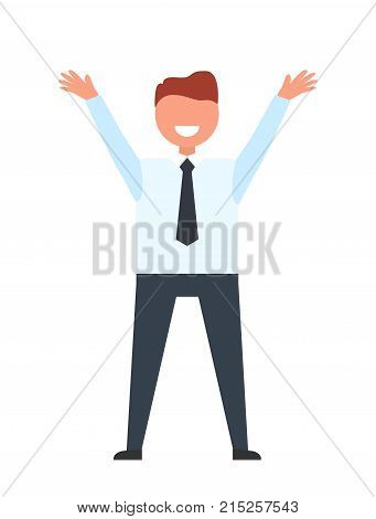Happy male dressed formally like businessperson holds hands up. Office worker on vector illustration is isolated on white background