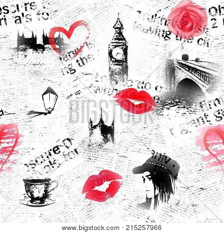Black white red pink London grunge background. Texture with hand drawn elements unreadable text tea cup heart rose lipstick kiss and fashion girl.
