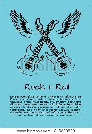 Rock n roll music poster with two crossed guitars surrounded by two giant wings. Background of vector illustration with musical instruments in light blue