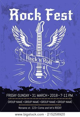 Rock n roll fest announcement with electrical guitar surrounded by two wings. Vector illustration of banner with room for information about festival