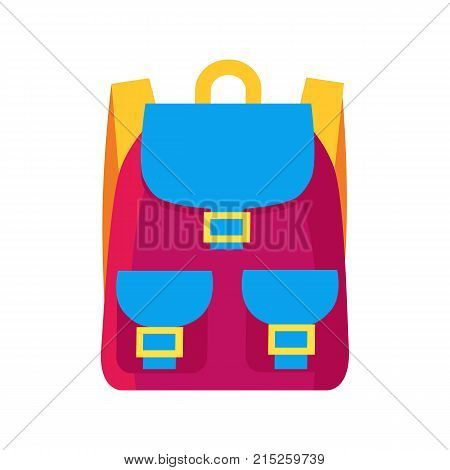 Colorful childish pink rucksack with golden clasps, yellow straps and blue pockets. Vector illustration of bag isolated on white background