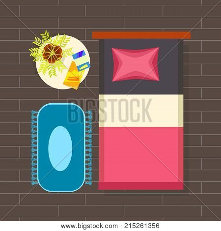 Bedroom interior planning consisting of single bed, nightstand with green plant and magazines on it, and carpet on brown floor vector illustration