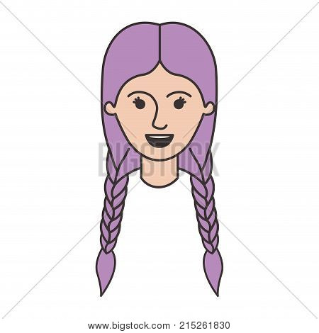 female face with braided hair in colorful silhouette vector illustration
