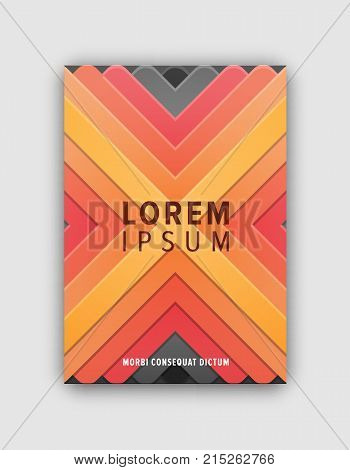 Modern design geometric cover with colorful crossing lines, headline on centerpiece, and text sample below vector illustration isolated on white