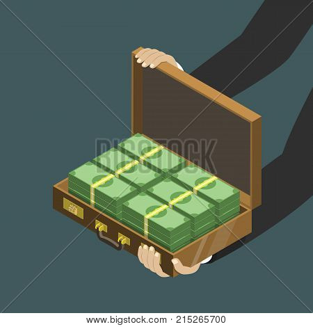 Money in the suitcase flat isometric low poly vector concept. Mans hands are holding an open suitcase with money.
