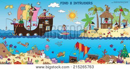 Game for children : find eight intruses