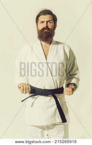 Bearded Karate Man, Brutal Caucasian Serious Hipster In Kimono