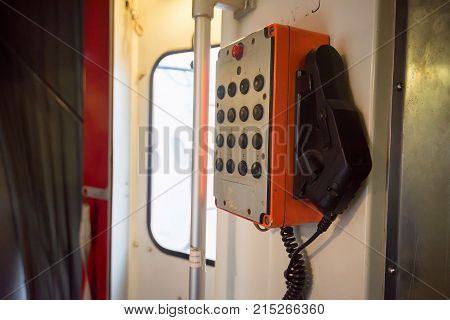 Close up obsolete weathered interphone device for communication between air traffic controllers