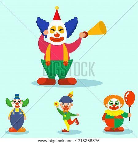 Clown performing different fun activities vector cartoon illustrations. Cute characters happiness performer carnival actor. Makeup juggling human.