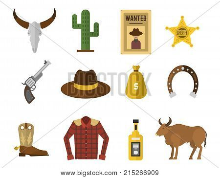 Wild west elements set icons cowboy icons. Rodeo equipment and many different accessories vector illustration. Texas american western emblem collection.