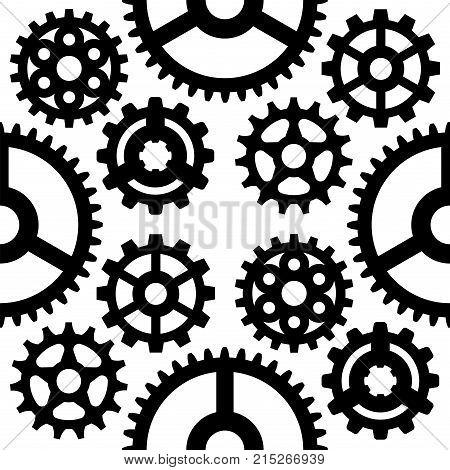 Gear vector illustration mechanics gearing web development shape work cog seamless pattern background. Engine wheel equipment machinery element. Circle turning technical tool.