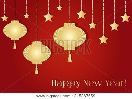 A New year background with golden Chinese lantern tassel lights and a garland. Happy new year text. Vector illustration of happy new year 2018 on red in gold colors. Design for flayer brochure