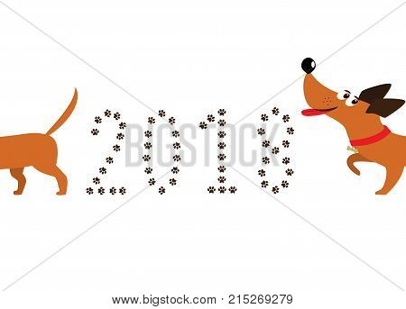 Cute Cartoon Dachshund Dog Following Tail And Number 2018 Made O
