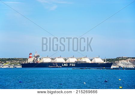 MARSAXLOKK, MALTA - APRIL 1, 2017 - Armada LPG tanker moored in the harbour Marsaxlokk Malta Europe, April 1, 2017.