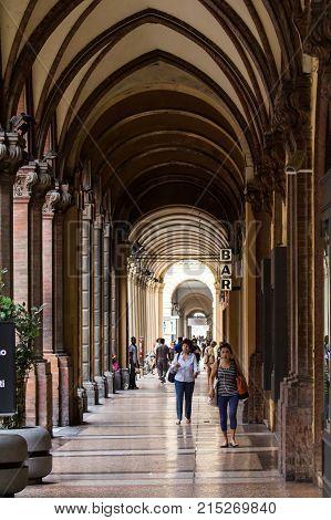 BOLOGNA, ITALY - JULY 22, 2017: the porticoes of Via dell'Indipendenza - Emilia Romagna