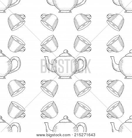 Coffee cup and kettle, ink hand draw seamless pattern. Doodle teapots, coffee kettles isolated. Sketch illustration, for cafe and restaurant menu design, wrapping, wallpaper and packaging.