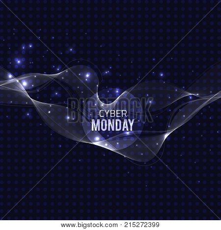Vector abstract glowing transparent elemen. Cyber monday sale banner Blue design with glitter effect.Vector abstract technology.Disco party