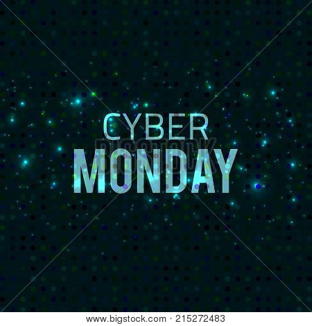 Vector abstract glowing template. Cyber monday sale banner Blue design with glitter effect.Vector abstract technology.