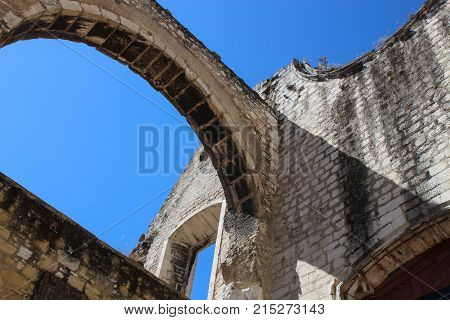 Ruins of the Convent of our Lady of Mount Carmel. Lisbon Portugal.