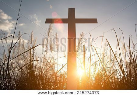 Religious cross,Crucifixion Of Jesus Christ at sunset