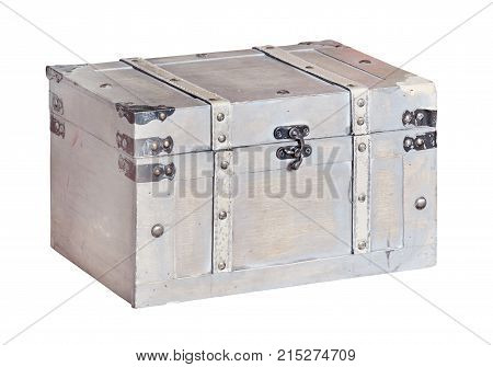 Old vintage chest trunk isolated on white background