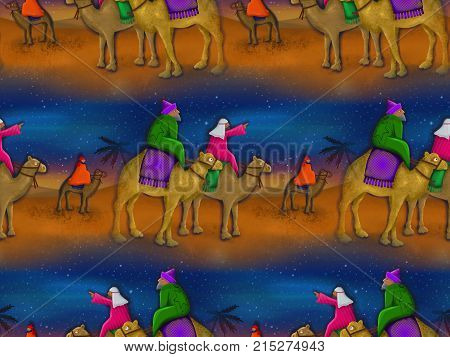 A seamless Christmas magi background scene. This is a repeating textile version of my original painting.