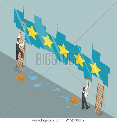 Five star rating flat isometric vector concept. Two workers are cleaning a glass wall and from under the dust layer is appearing the yellow file stars.