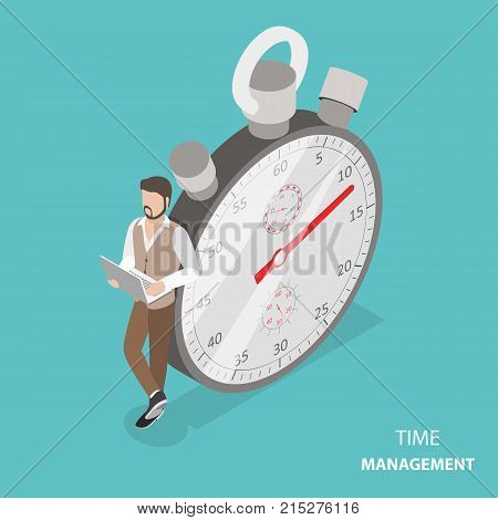 Time management flat isometric vector concept. Stylish young man is standing with his laptop near the stopwatch leaning at it.