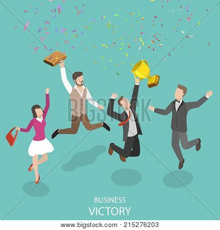 Business victory flat isometric vector concept. People with winner cup are jumping and rejoicing of their win.